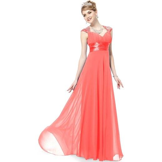 5ee23afbdbe5 Ever-Pretty Korálové dlouhé šifonové šaty inspirované antikou - Glami.cz