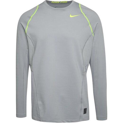 Sivé pánske funkčné tričko s dlhým rukávom Nike Pro Hyperwarm - Glami.sk 19ec2bdc063