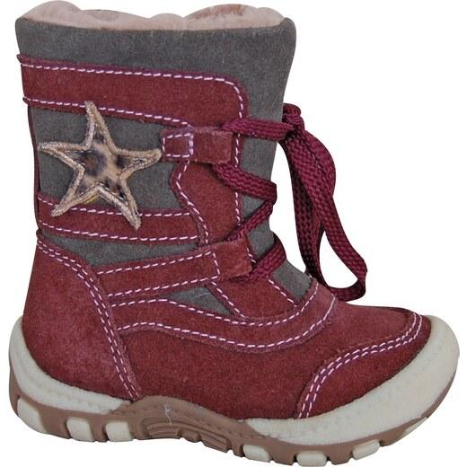ec76c6fe68 Protetika Dievčenské zimné topánky s hviezdičkou Verona - vínové - Glami.sk