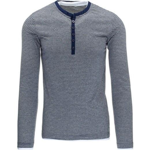 9c126fd1ab7b Modré tričko s gombíkmi a bielymi prúžkami - Glami.sk