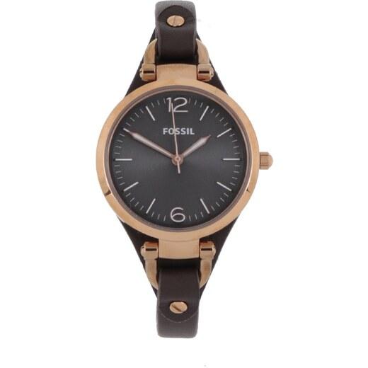 Dámske hodinky v zlatej farbe s tmavohnedým koženým remienkom Fossil Georgia  - Glami.sk bada5f5565f