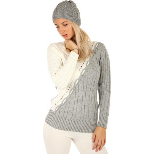 Glara Originální dámský dvoubarevný pletený svetr - Glami.cz 9fc63997d1