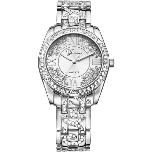 2f0b93ad3 Dámské hodinky Geneva Crystal G040 - stříbrné - Glami.cz