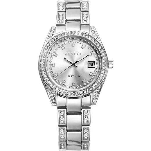 b30b48ff2 Dámské hodinky Geneva Crystal G035 - stříbrné - Glami.cz