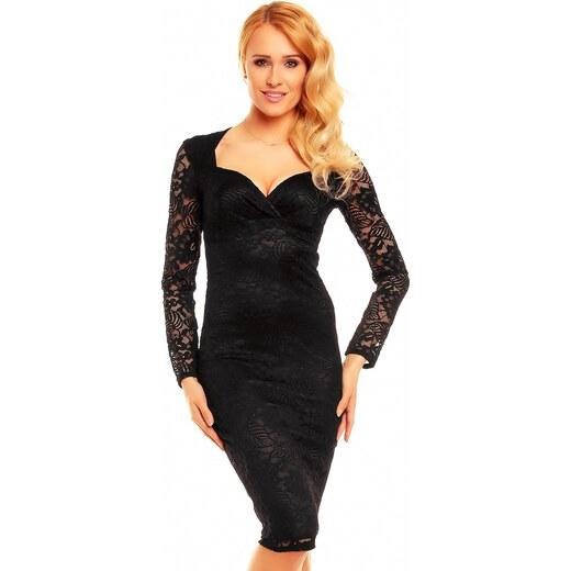 6b4ce209034 Společenské a plesové šaty MAYAADI Deluxe krajkové středně dlouhé černé -  Glami.cz