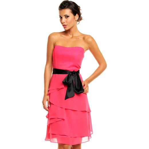 e185dbe76748 Společenské šaty korzetové značkové MAYAADI s mašlí a sukní s volány růžové  - Glami.cz