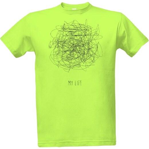 44abcdc8827 T-shock tričko s potiskem My life - můj život pánské Green apple S -  Glami.cz