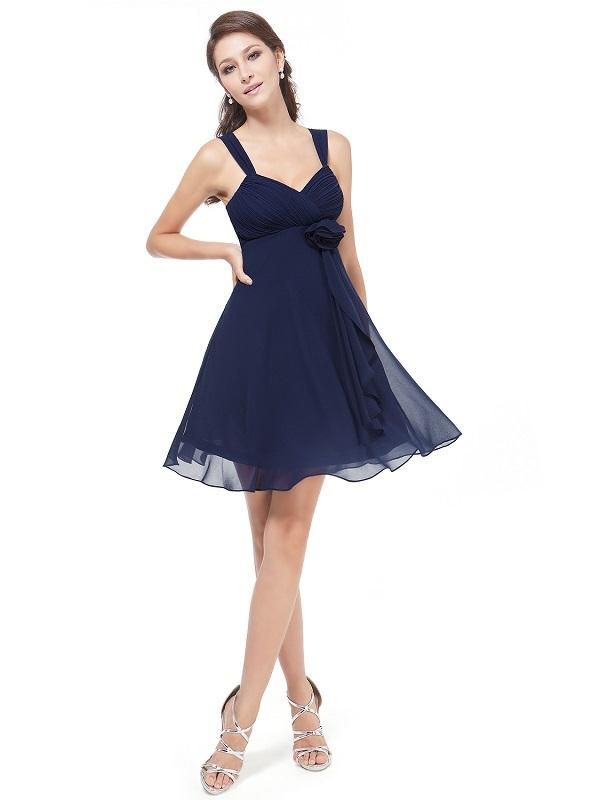 9776b9d0f090 Ever Pretty šifonové šaty krátké tmavě modré 3266 - Glami.cz