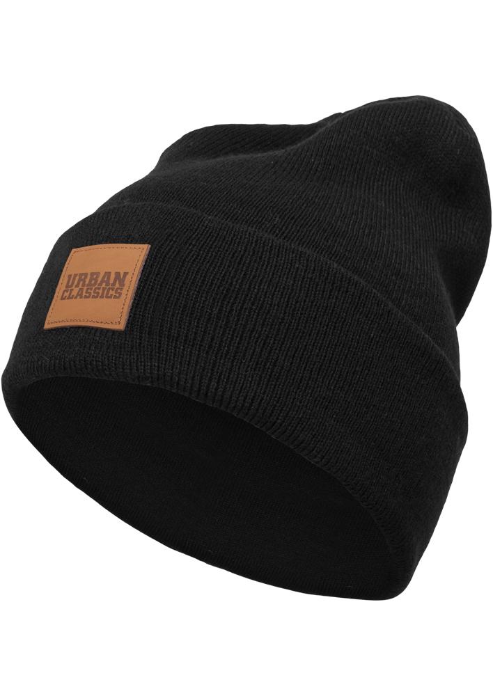 4d1dbe378 Zimná čiapka Urban Classics Leatherpatch Long čierna - Glami.sk
