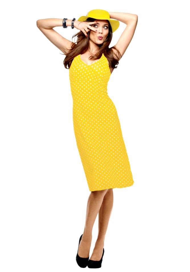 VIVANCE COLLECTION VIVANCE COLLECTION letní žluté šaty na ramínka ... 68c24d34e2