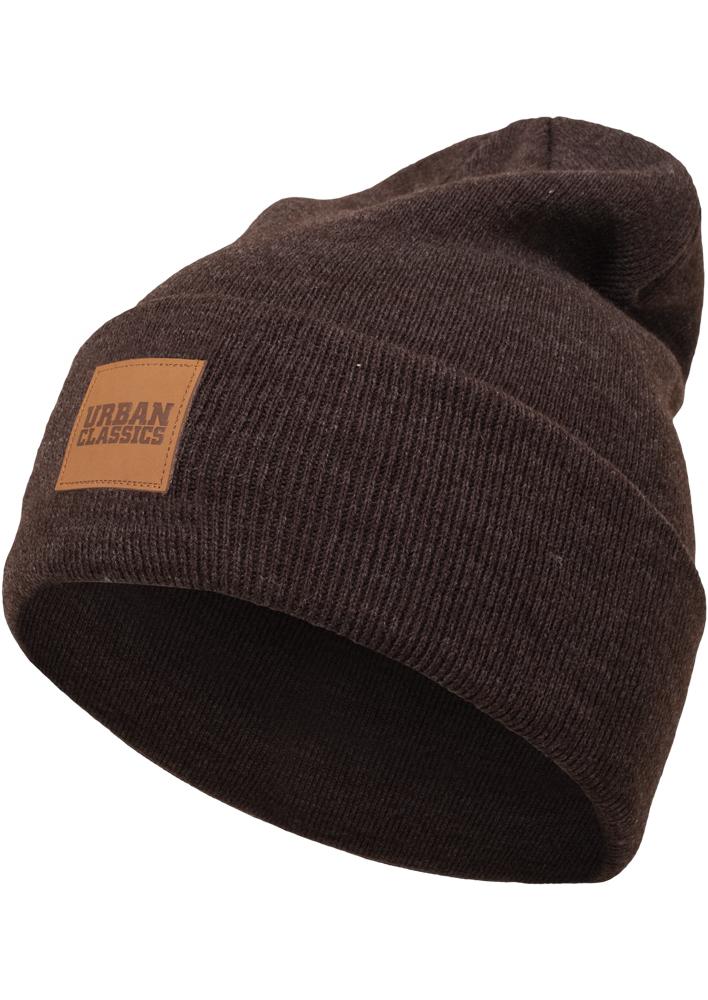 ca1175179 Zimná čiapka Urban Classics Leatherpatch Long hnedá - Glami.sk