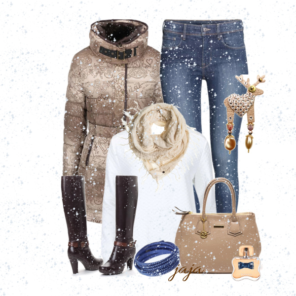 sněží a sněží na vzorovaný kabátek