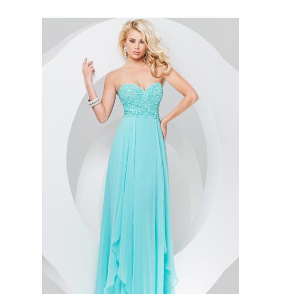 Simple sweetheart long chiffon prom dress