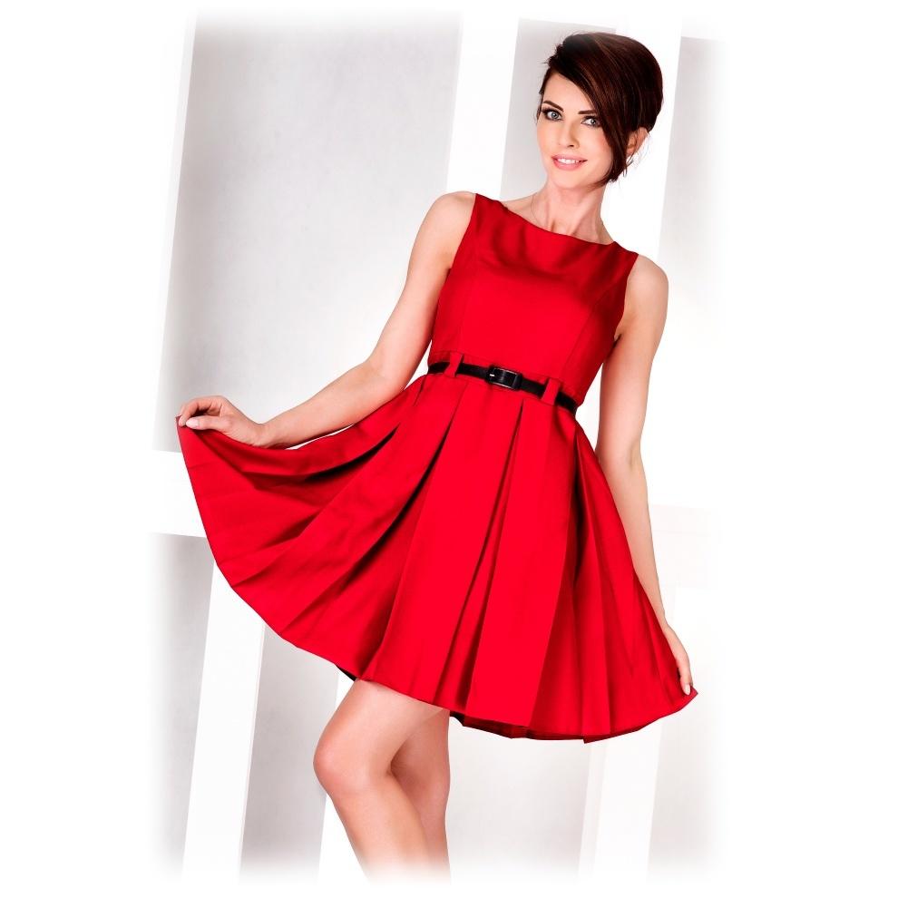 d1281da3a80 numoco Dámské společenské šaty FOLD se sklady a páskem středně dlouhé  červené