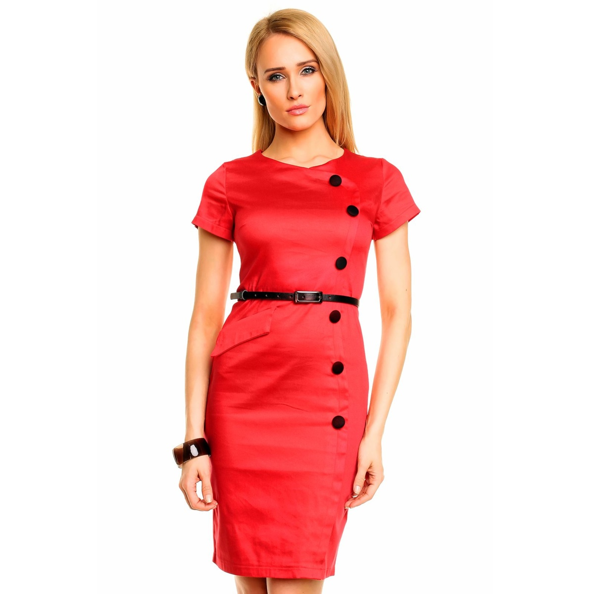 f39ca1428b9 Společenské a casual šaty MAYAADI zdobené knoflíky a páskem červené.  Společenské a casual šaty MAYAADI zdobené knoflíky ...