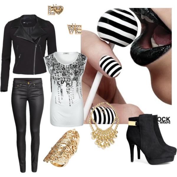 Elegant black white and gold look