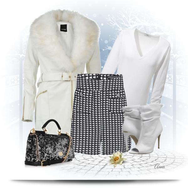 Sukně jako součást zimního outfitu.