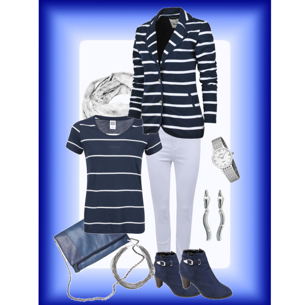 Navy blue striped