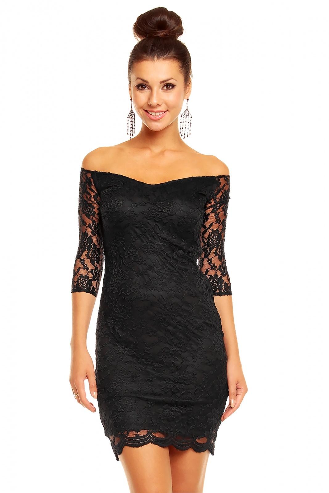 47651069b9b3 Dámské společenské šaty MAYAADI krajkové s 3 4 rukávem krátké černé ...