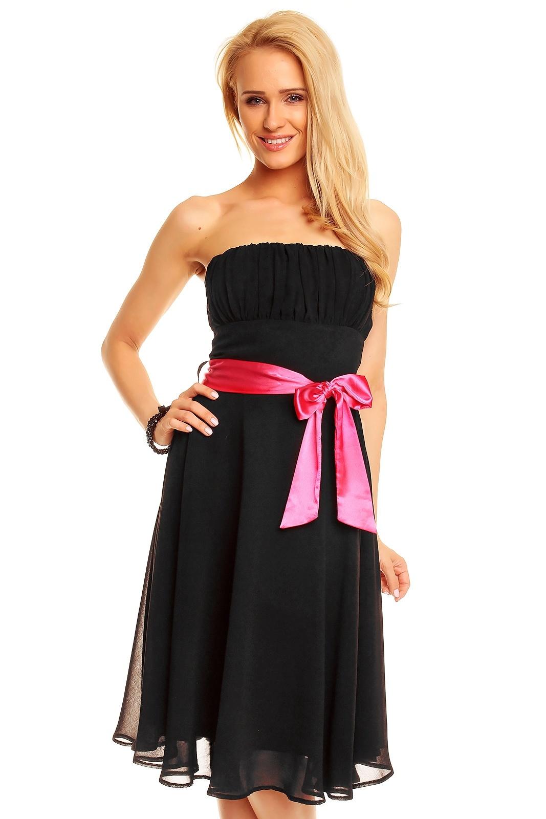 350ec54a6385 MAYAADI Dámské společenské šaty korzetové s mašlí a šifonovou sukní černé. 1