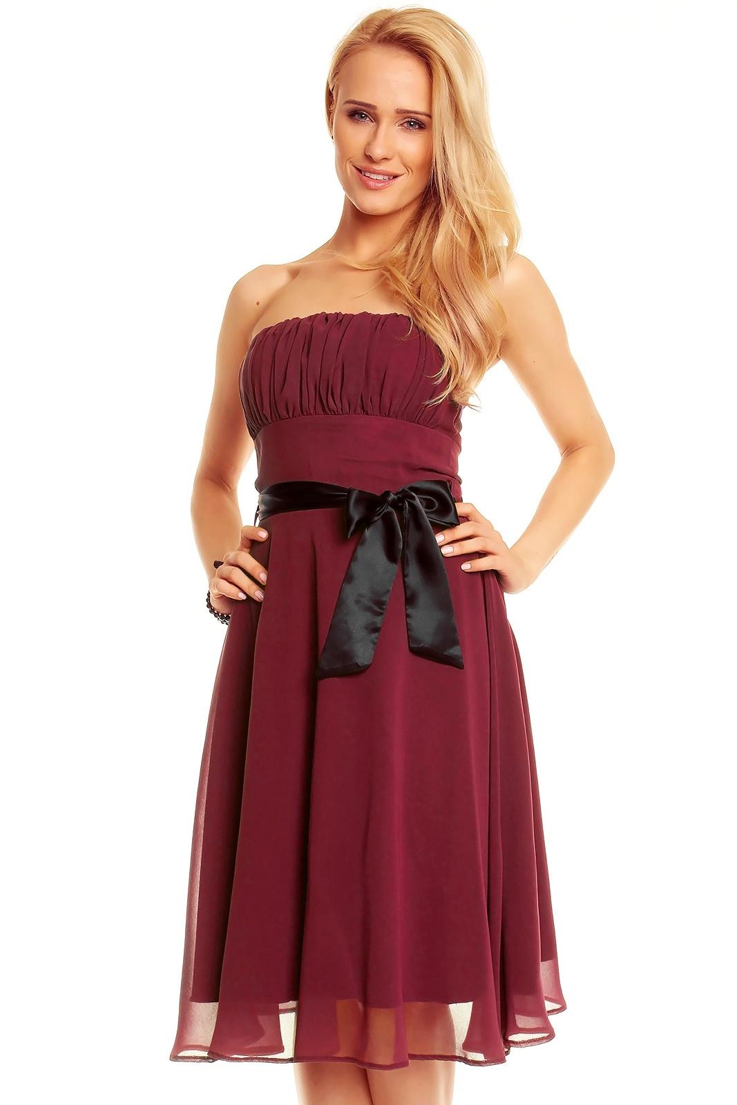 MAYAADI Dámské společenské šaty korzetové s mašlí a šifonovou sukní bordó eb61950a3c