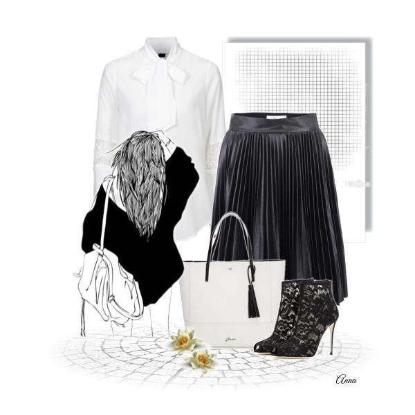 Trend na jaro-plisovaná sukně & bílá blůza.