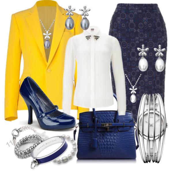 Kombinace žluté, modré a bílé