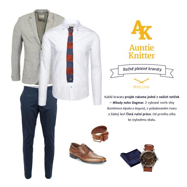 Pletená kravata Auntie Knitter (Stripy Red)