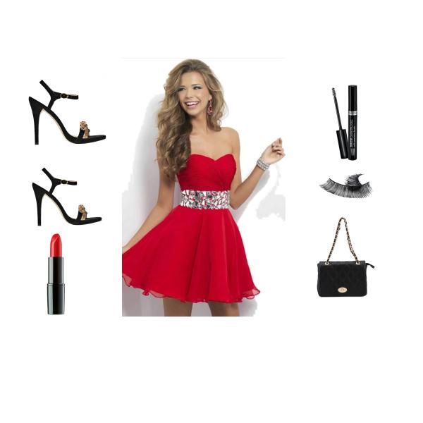 Red mini dress with widgets