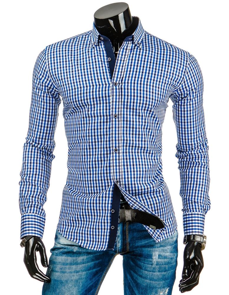 Pánská kostkovaná košile s dlouhým rukávem DS - modrobílá - Glami.cz 4c8923441c