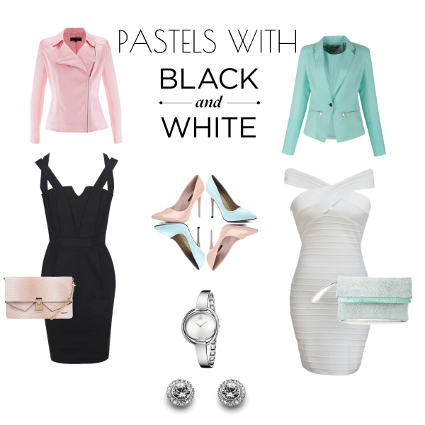 pastels with black and white
