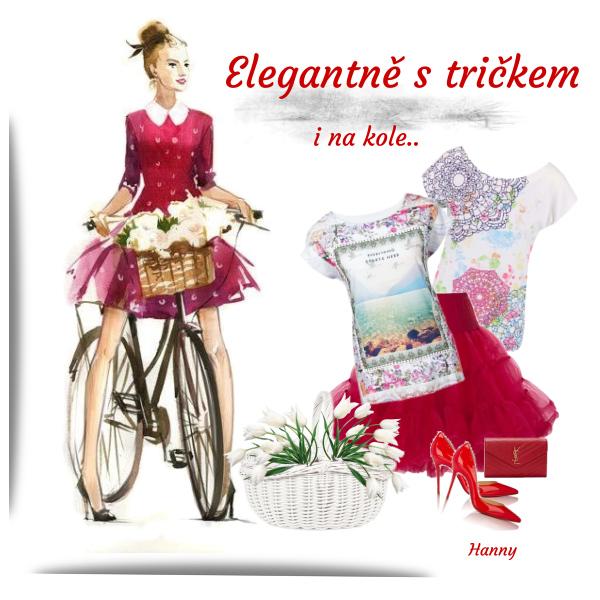 Elegantně s tričkem i na kole....