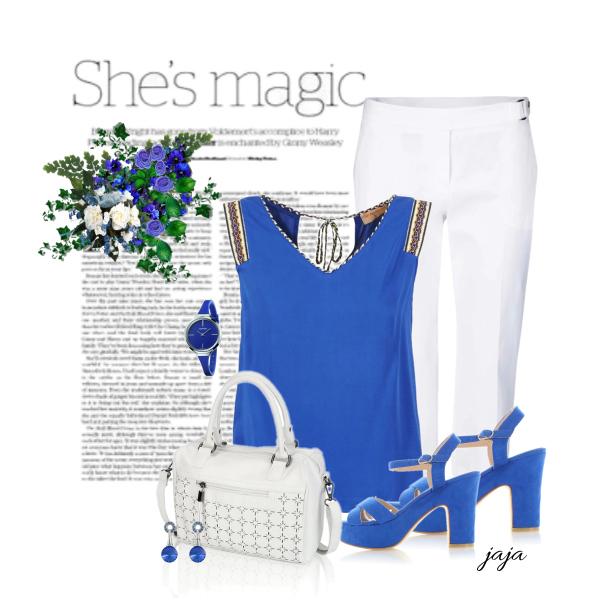 dívka v modrém