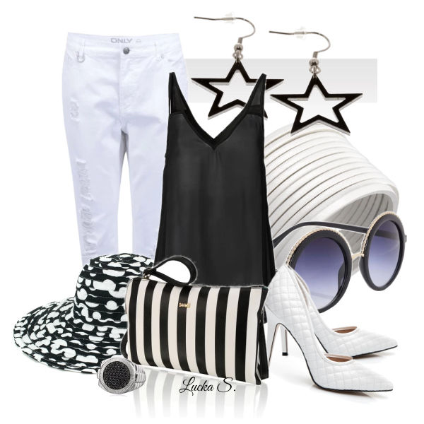 Černá a bílá v letním outfitu