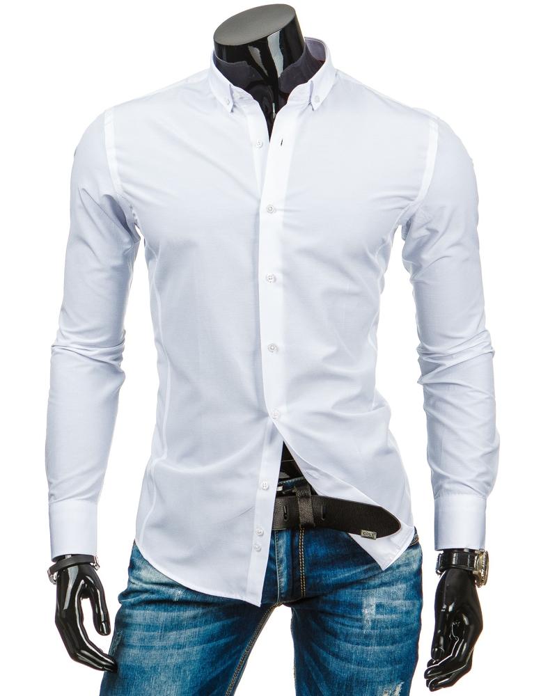 5223836d390b Pánská košile s dlouhým rukávem DS - bílá - Glami.cz