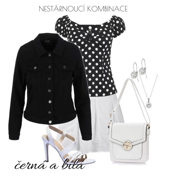Džínová bunda v černobílé kombinaci