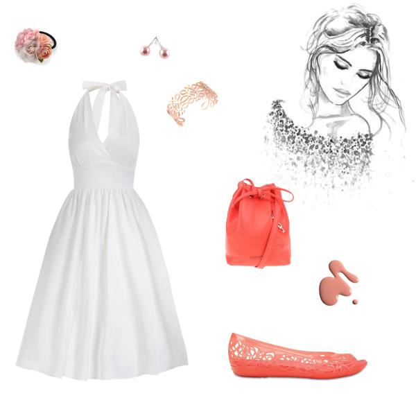 Romantický outfit s něžnými doplňky v korálových odstínech