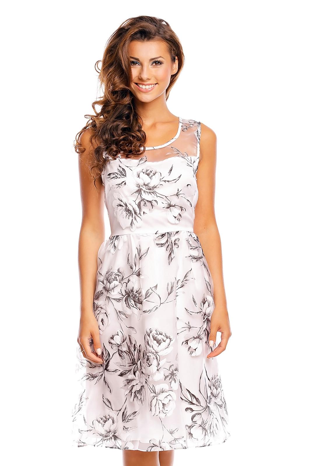 Společenské šaty s květinami - bílé - Glami.cz c1ee07f422