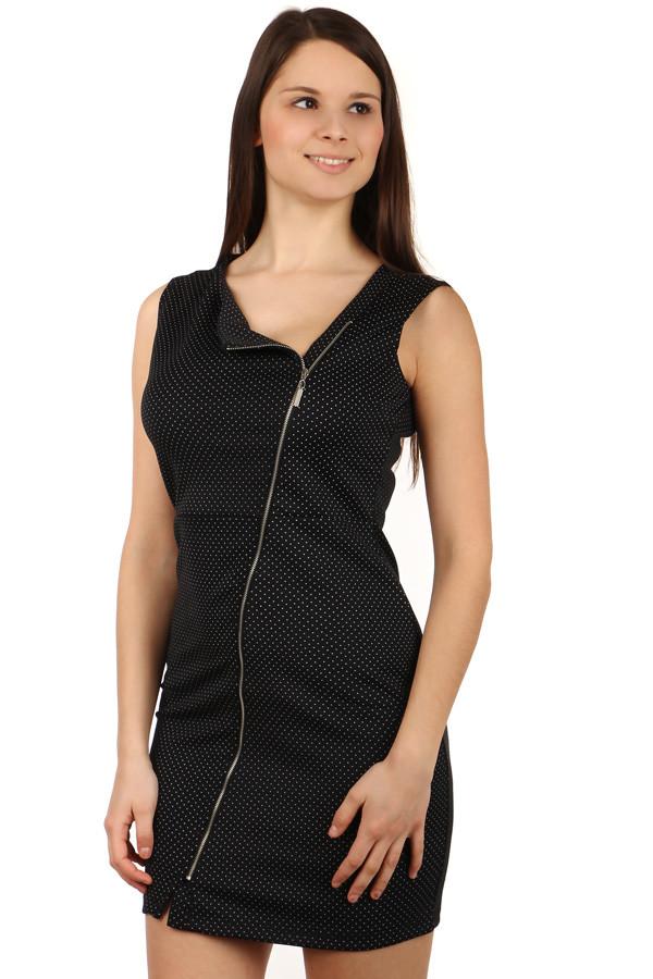 49a93bd7a495 Glara Dámske krátke bodkované šaty so zipsom a širokými ramienkami ...