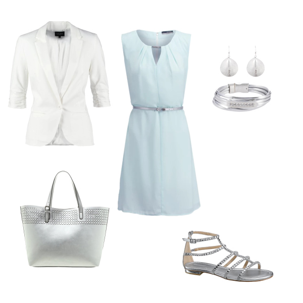 dress with silver sandals