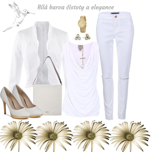Bílá se zlatými šperky