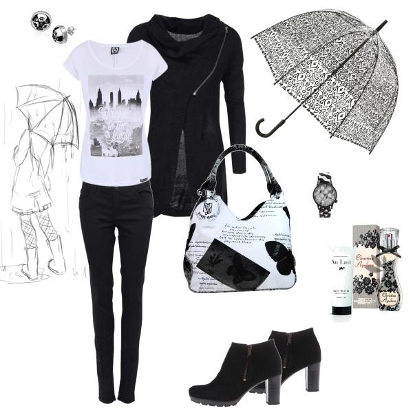 Černobílý outfit do deštivého počasí...