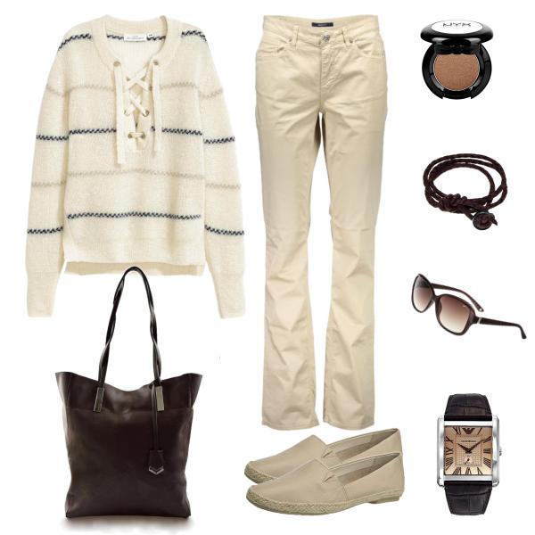pohodlný outfit s kabelkou