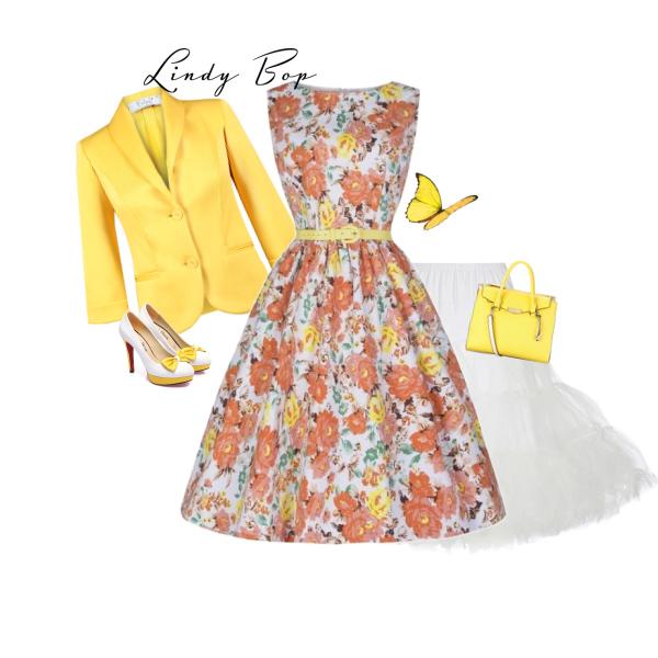 Lindy Bop AUDREY ORANGE FLORAL od Alltex-fashion.cz