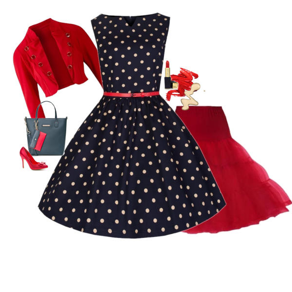Retro šaty Lindy Bop Audrey Blue New Polka od Alltex-fashion.cz
