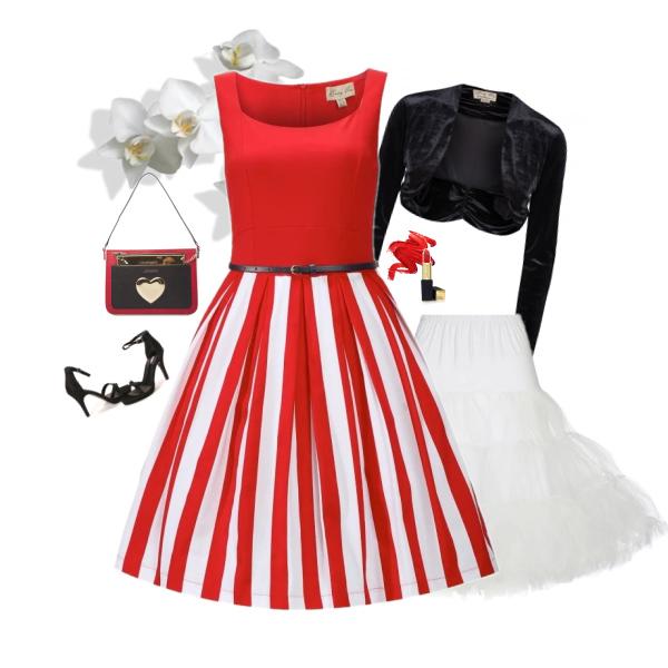 Retro šaty Lindy Bop Bette Red Stripe od Alltex-fashion.cz
