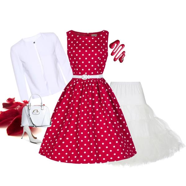 Retro šaty Lindy Bop Audrey Red New Polka od Alltex-fashion.cz