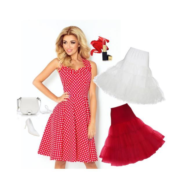 Dámské šaty PIN UP ROCKABILLY červené s bílými puntíky - od Alltex-fashion.cz