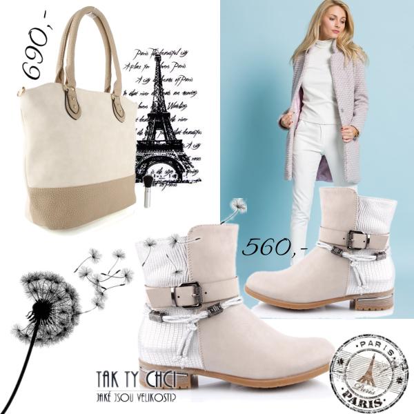 Elegantní kabelka a béžové stříbrné kotníkovky