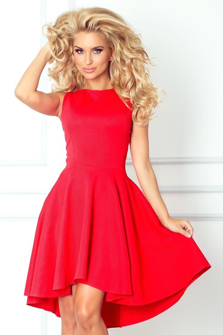 f2f2325ef4da numoco Dámské společenské šaty exkluzivní s asymetrickou sukní krátké  červené. 1